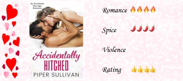 Pink background with a border of hearts on one side. At the left is the cover image of the book, at the right are the ratings: 4 hearts for romance, 4 chillis for spice, 4 thumbs up for rating