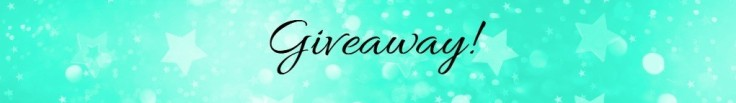 A heading banner image with mint green background highlighted by decorative stars with the word giveaway