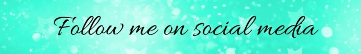 Banner saying 'follow me on social media' with a mint green background and decorative glitter stars