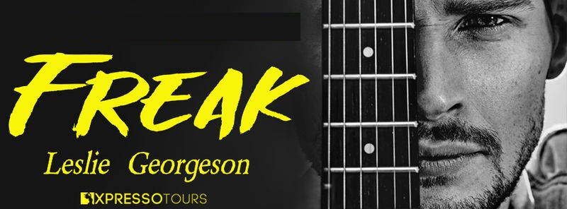 Black background with image of a man partially hidden by the neck of a guitar to the right and the book title, Freak, to the left