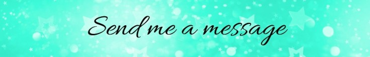 Banner image saying 'send me a message' on a mint green background with glitter stars