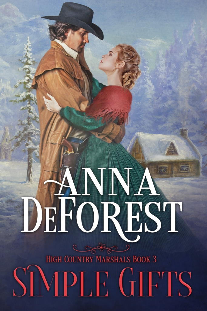 Book cover of Simple Gifts by Anna DeForest, showing a man and woman embracing in front of a farmhouse