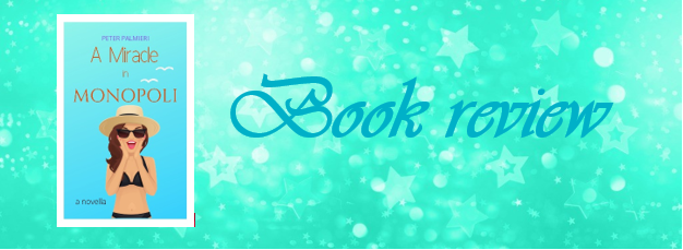 Mint green background with decorative stars, with an image of the book cover for A Miracle in Monopoli and the words 'book review'